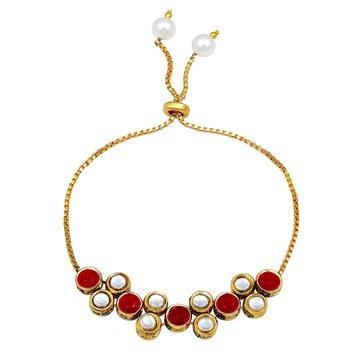 Gold Finish Stylish Kada Studded With Stones Traditional Bracelets