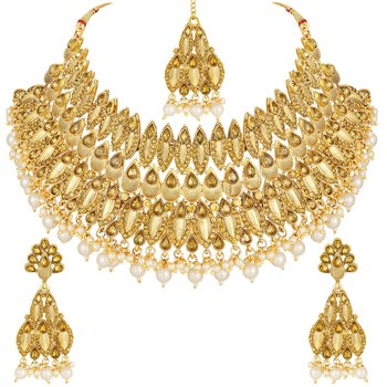 Ndian Bollywood Style Gold Plated Lct Stone Choker Necklace Set For Women