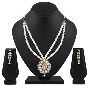 Atractive Wedding Gold Plated Opera Style Brass White Stone Necklace Set For Women