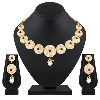 traditional wear designer choker style  gold plated brass nacklace set for women