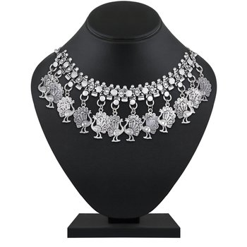 Traditional Wear Designer German Silver Plated Choker Style Fancy Oxidised Nacklace For Women