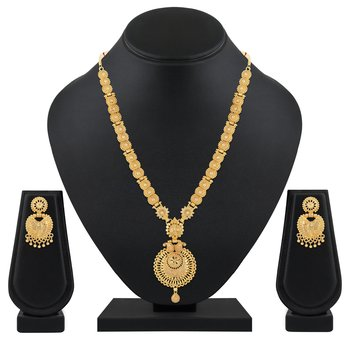 Traditional 1 Gram Gold Plated Matinee Style Necklace Set For Women