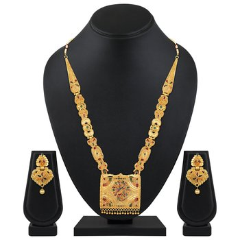 wedding Wear & designer 1 Gram Gold plated enamal work matinee style necklace set for women