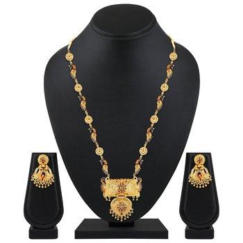 designer 1 Gram Gold plated enamal work opera style necklace set for women
