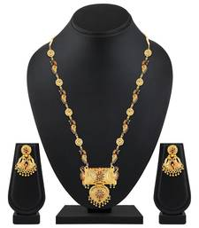Designer 1 Gram Gold Plated Enamal Work Opera Style Necklace Set For Women