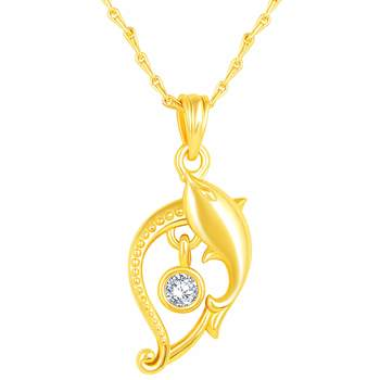 Charming Designer Fish Shape Gold Plated CZ Stone Pendant with Chain For Women