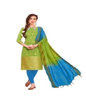 green woven banarasi unstitched salwar with dupatta