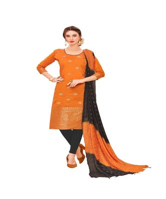 orange woven banarasi unstitched salwar with dupatta