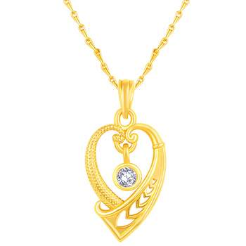 Exclusive Heart Shape Gold Plated Cz Stone Pendant With Chain For Women