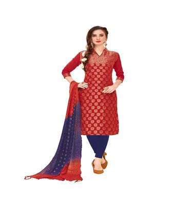 red woven banarasi unstitched salwar with dupatta