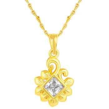 Classy Leaf design Gold Plated CZ Stone Pendant with Chain For Women