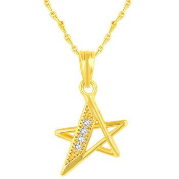 Pretty Star Shape Gold Plated Cz Stone Pendant With Chain For Women