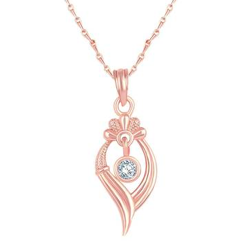 Modern Leaf design Rose Gold Plated CZ Stone Pendant with Chain For Women