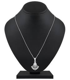 Pretty Designer Silver Gold Plated Cz Stone Pendant With Chain For Women