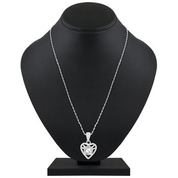 Creative Designer Heart Shape Silver Gold Plated CZ Stone Pendant with Chain For Women