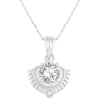 Excellent Designer Silver Gold Plated Cz Stone Pendant With Chain For Women
