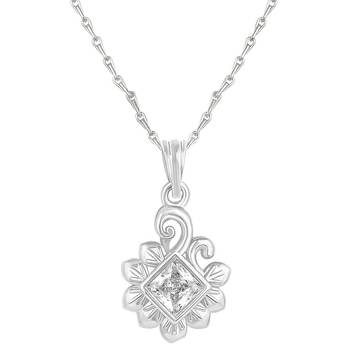 Classy Leaf Design Silver Gold Plated Cz Stone Pendant With Chain For Women