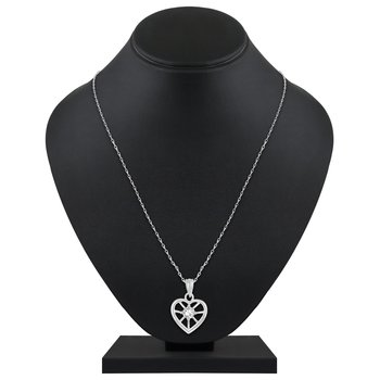 Beautiful Heart Shape Silver Gold Plated Cz Stone Pendant With Chain For Women