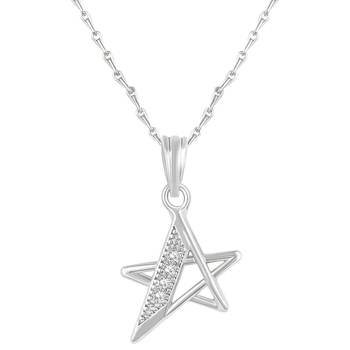 Pretty Star Shape Silver Gold Plated Cz Stone Pendant With Chain For Women