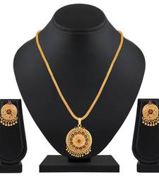 Fancy Gold Plated Matinee Style Pendant Set For Women
