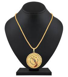 Traditional Round Shape Pendent Gold Plated Matinee Style Pendant Chain For Women