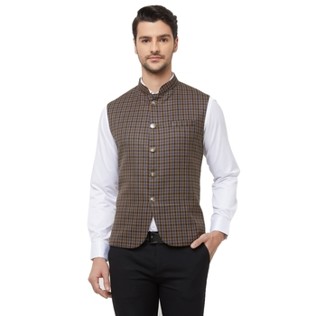 Brown printed cotton nehru-jacket