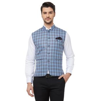 Blue printed cotton nehru-jacket