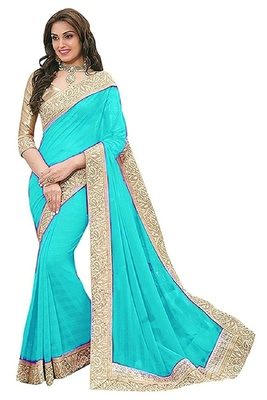 Turquoise Bridal Chiffon Saree With  Lace  and Blouse Piece.
