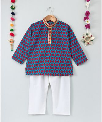Prinbted Blue Kurta with Mangoes and White Pajama