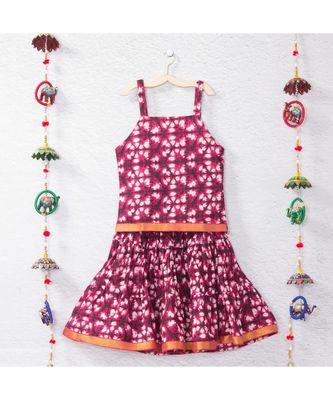 Pink Batik print lehenga choli