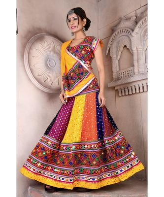Multicolor Kutch Embroidery and Mirror Cotton Navratri Wear Lehenga