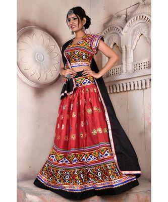 Orange N Multicolor Kutch Embroidery and Mirror Rayon Navratri Wear Lehenga