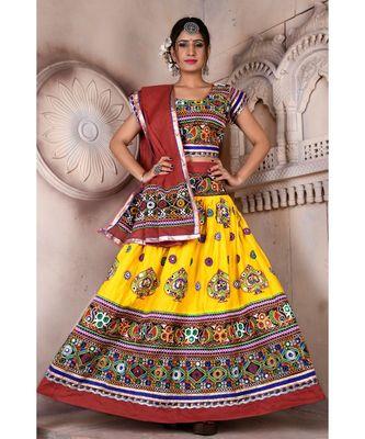 Yellow N Multicolor Kutch Embroidery and Mirror Rayon Navratri Wear Lehenga
