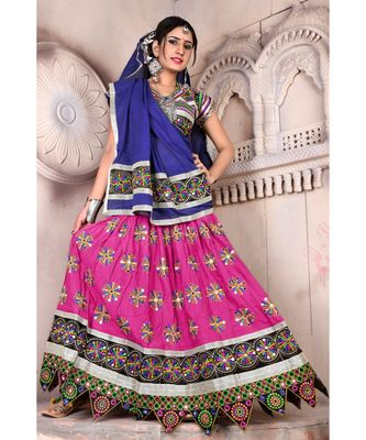 Pink N Multicolor Kutch Embroidery and Mirror Cotton Navratri Wear Lehenga