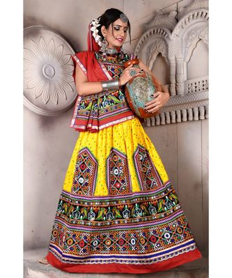 Yellow N Multicolor Kutch Embroidery and Mirror Cotton Navratri Wear Lehenga