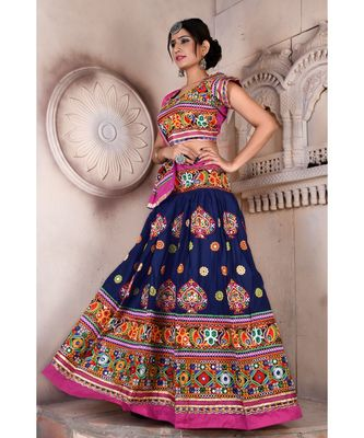 Navy Blue N Multicolor Kutch Embroidery and Mirror Rayon Navratri Wear Lehenga