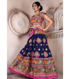 Navy Blue N Multicolor Kutch Embroidery and Mirror Rayon Navratri Wear Lehenga