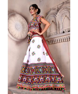 White N Multicolor Kutch Embroidery and Mirror Cotton Navratri Wear Lehenga