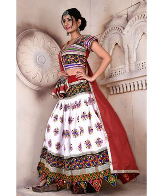 White N Multicolor Kutch Embroidery and Mirror Cotton Navratri Wear Lehenga
