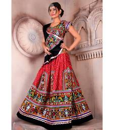 Red N Multicolor Kutch Embroidery and Mirror Cotton Navratri Wear Lehenga