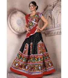 Black N Multicolor Kutch Embroidery and Mirror Cotton Navratri Wear Lehenga