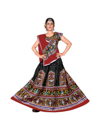 Black N Multicolor Kutch Embroidery and Mirror Cotton Navratri Wear Lehenga