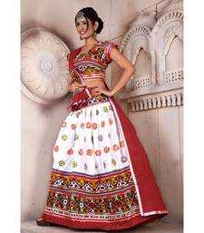 White N Multicolor Kutch Embroidery and Mirror Rayon Navratri Wear Lehenga