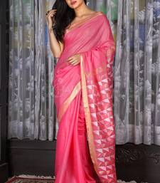 Pink woven silk saree with blouse