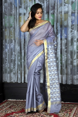 LIGHT STEEL BLUE BLENDED COTTON SAREE WITH GEOMETRIC PALLU
