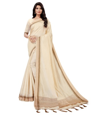 Off white woven tussar silk saree with blouse