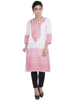 White embroidered cotton kurtas-and-kurtis