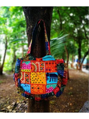 Multicolored Real Mirror Worked Banjara Bag With Hanging Pompom Tassels