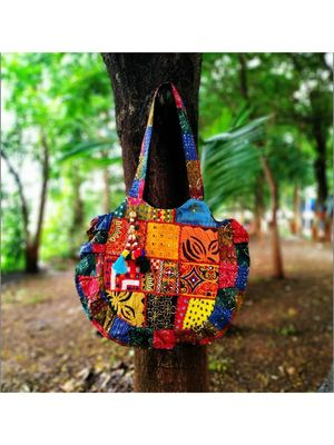 Multicolored Real Mirror Worked Banjara Bag With Hanging Pompom Tassels Pattern-1