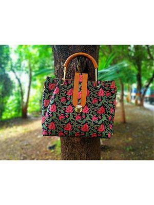 Flower Printed Black Based Cottom SIlk And Fox Lether Designer Handbag